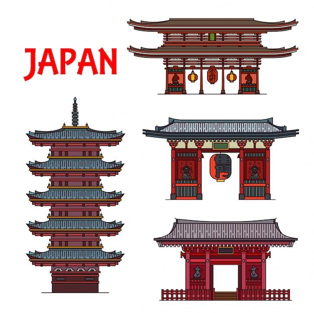 日本の旅行のランドマーク、有名な建物