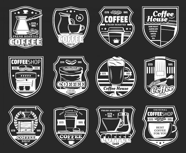 Кофейные иконки с эспрессо-машиной, чашками с горячим напитком