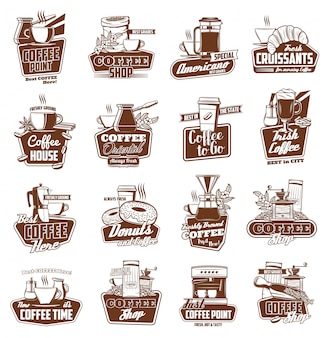 コーヒーカップ、ポット、エスプレッソマシン、デザート