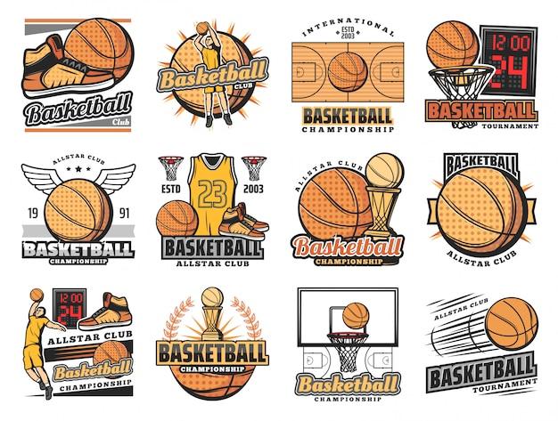 Баскетбольный спортивный клуб, значки команды стритбола
