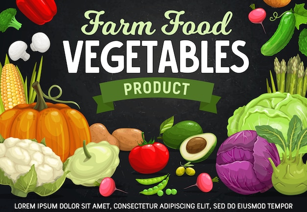 農場の野菜、豆、キノコ漫画のベクトル