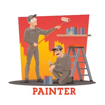 画家が壁を塗る、塗装作業員