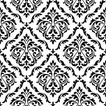 Дамаск черно-белые цветочные бесшовные