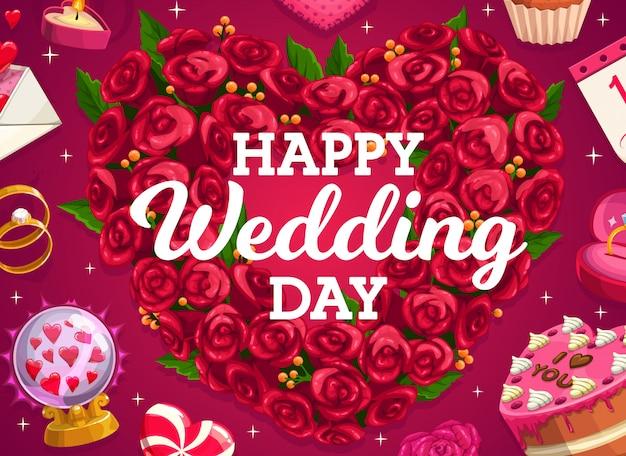 結婚式の花輪、ケーキ、花の愛の心、新郎新婦の結婚パーティーゴールデンリング。ウエディングケーキとフローラルブーケ、愛のメッセージとハートのロリポップ、クリスタルボール、ギフト