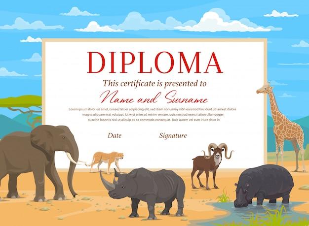 アフリカのサファリ動物の子供卒業証明書テンプレート。学校、幼稚園または幼稚園の卒業、象、サイ、キリン、カバの成績証明書