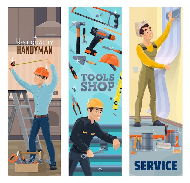 Разнорабочий, сантехник, маляр и декоратор с баннерами инструментов. строительные, сантехнические, ремонтные и малярные работники, ящик для инструментов, молоток, дрель и краска, обои, рулетка, гаечный ключ