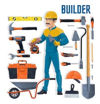 Строитель с мультфильм инструментов строительных и ремонтных работ. каменщик или каменщик с лопатой, молотком, ящиком для инструментов и шпателем, кирпичом, шпателем, дрелью и гаечным ключом, тачкой и каской