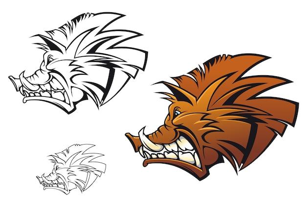 タトゥーやマスコットとしての漫画スタイルのイノシシ