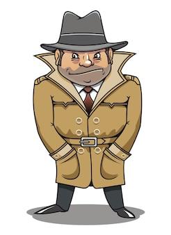 探偵のエージェントまたはスパイの男