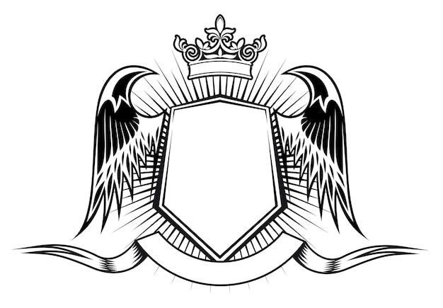 設計のための翼とリボンを備えた紋章要素