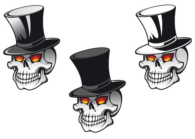 タトゥーデザインのための黒い帽子の頭蓋骨