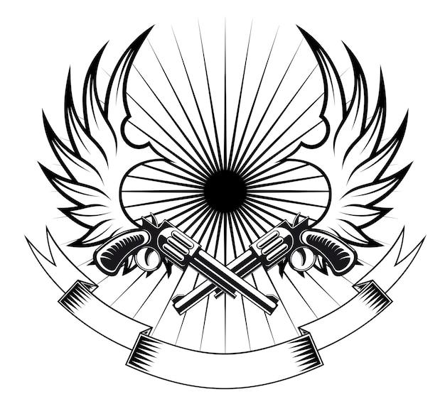 翼と紋章やタトゥーのデザインのためのリボンとカウボーイリボルバー