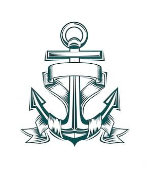 紋章デザインのリボンと古代のアンカー