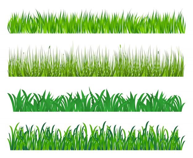 緑の芝生と白い背景で隔離のフィールド要素