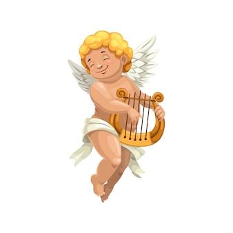 分離されたハープで遊ぶキューピッドの翼のある少年