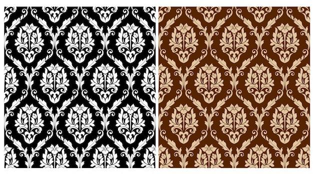 Цветочные арабески бесшовные модели набор