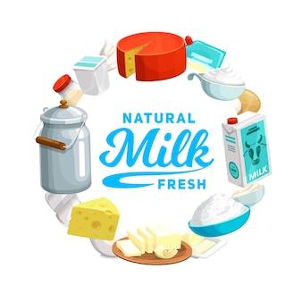 牛乳、チーズ、ヨーグルトの酪農食品アイコン