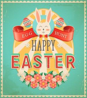 Счастливое пасхальное яйцо охота старинный плакат