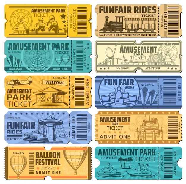 遊園地のカーニバルと遊園地の乗り物チケット