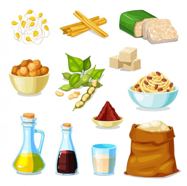 Соевые продукты из соевых бобовых