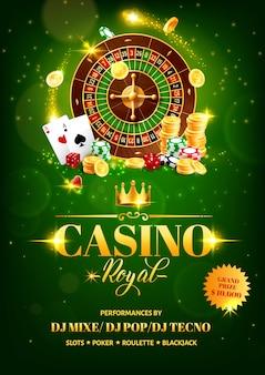 カジノギャンブルゲームのチラシ、ルーレット、チップ、サイコロ