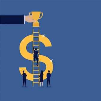 ビジネスマンは成功のためのトロフィーにドル階段を登ります。