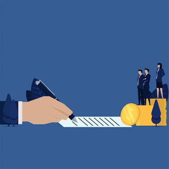 Бумага знака руки дела для займа задолженности денег или метафоры коррупции.