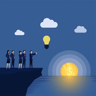 ビジネスチームはクラウド上のアイデアを広めるアイデアのお金の隠喩の夕日にアイデアを飛ばしてみましょう。