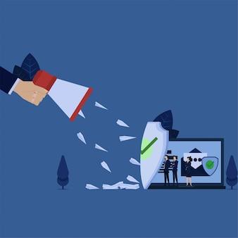 ビジネスメガホンはラップトップのスパムメール保護にメールを広げました。
