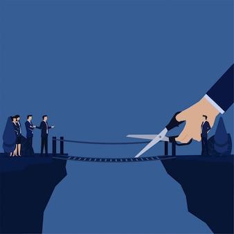 Бизнес-менеджер попытаться перерезать мост оставить команду в одиночку метафора устранить.