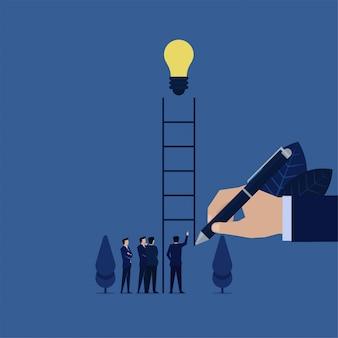ビジネスの手は、ビジネスマンが登るアイデアを見つけるのアイデアのメタファーに達するにはしごを描画します。