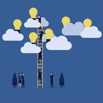 Бизнес-команда собирает идею на облаке