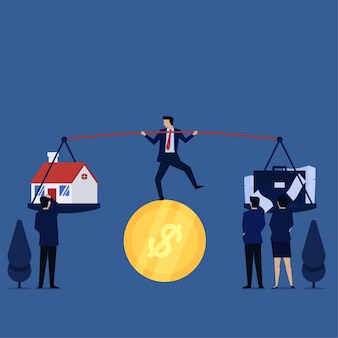 コインの上でジャグリングを行うビジネスマンは、家と仕事の間で混乱します。