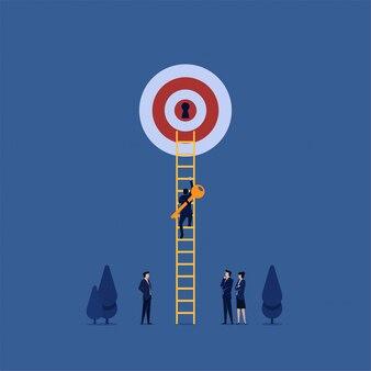 ビジネスフラットマネージャーは、キーを持ち込み、はしごを登って目標の進捗状況のロックを解除します。