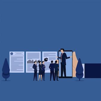 ビジネスフラットベクトル概念チームは、携帯電話のレポートについて尋ねます。