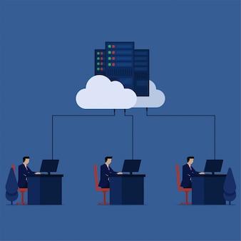 ビジネスフラットベクトル概念従業員は、クラウドストレージのクラウドデータセンターのメタファーに接続されているデスクオフィスで働いています。