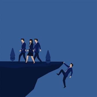 Бизнес плоский вектор концепции бизнесмен изо всех сил пытается достичь холма