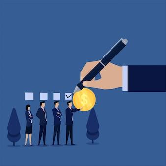 Рука концепции вектора дела плоская дает контрольную пометку к бизнесмену который заплатил с метафорой монетки коррупции.