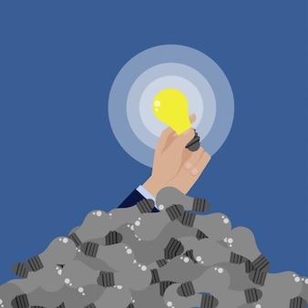 ビジネスマンの手が最高のアイデアを得る。