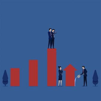 成長管理の棒グラフのメタファーの成長を見守るビジネスフラットイラストコンセプトマネージャー。