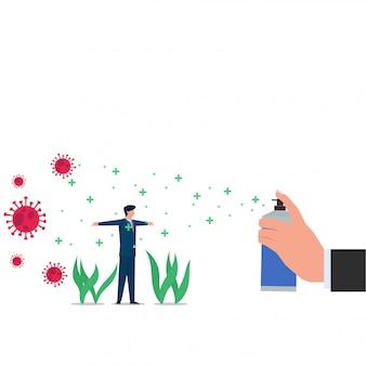 コロナウイルスを回避するために消毒剤が散布されたビジネスフラットコンセプト男。