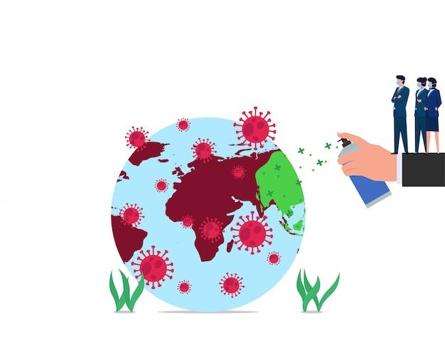 ビジネスフラットコンセプト大きな手コロナウイルスから世界を消毒します。