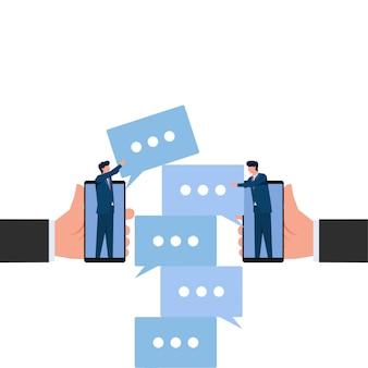 人々は、良好なコミュニケーションを構築するという電話の比喩からチャットアイコンを配置します。ビジネスフラットの概念図。