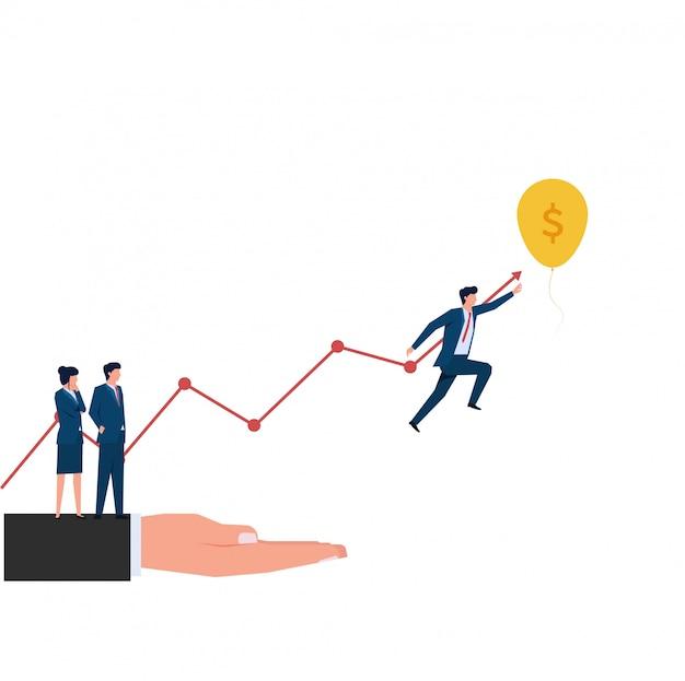 ターゲットとしてバルーンに到達するために男がジャンプします。ビジネスフラットの概念図。