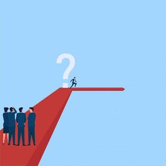 人々は、マネージャーが別の方向に右折して、方向転換の疑問符のメタファーを避けているのを見ます。ビジネスフラットの概念図。