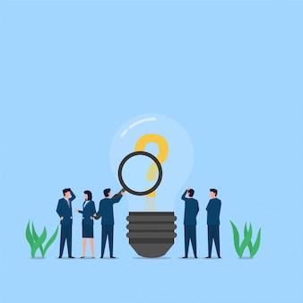 拡大鏡を使用する人は、疑問符が入ったランプを分析します。ビジネスフラットの概念図。