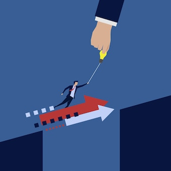 ビジネスマンはギャップをジャンプする手助けを飛ぶ。