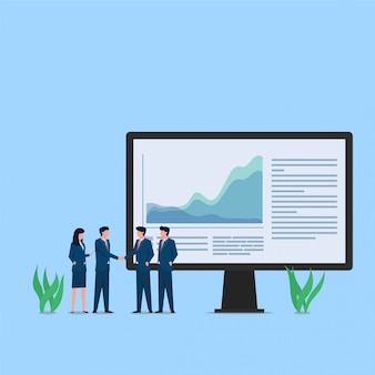 利益の会社の成長の比喩のための人々の握手。ビジネスフラットの概念図。
