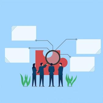 拡大鏡を持つ男は、ソリューションのパズルの隠喩の断片を分析します。ビジネスフラットの概念図。