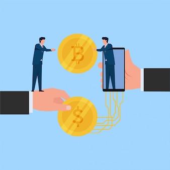 男は、オンラインの節約と投資のドル硬貨交換メタファーのビットコインを受け取ります。ビジネスフラット概念図。